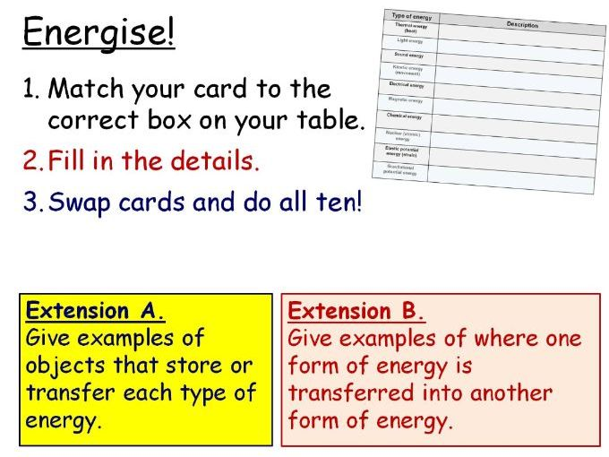 Energy Stores and Transfers Year 7 Lesson PowerPoint (KS3 7Ib) Energy topic