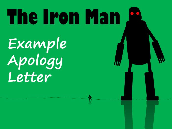 The Iron Man Hogarth Apology Letter Example, Feature Identification & Answers