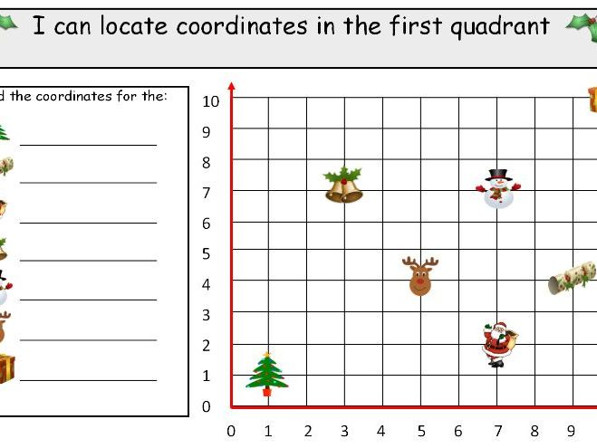 Christmas coordinates in first quadrant