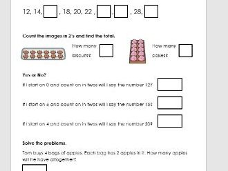 Counting in 2's, 5's and 10's Worksheet