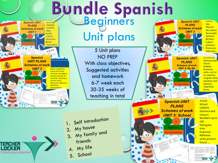 Spanish Unit Plans for Beginners - Get 30-35 weeks  of scheme of work / Unit Plans for spanish Beginner