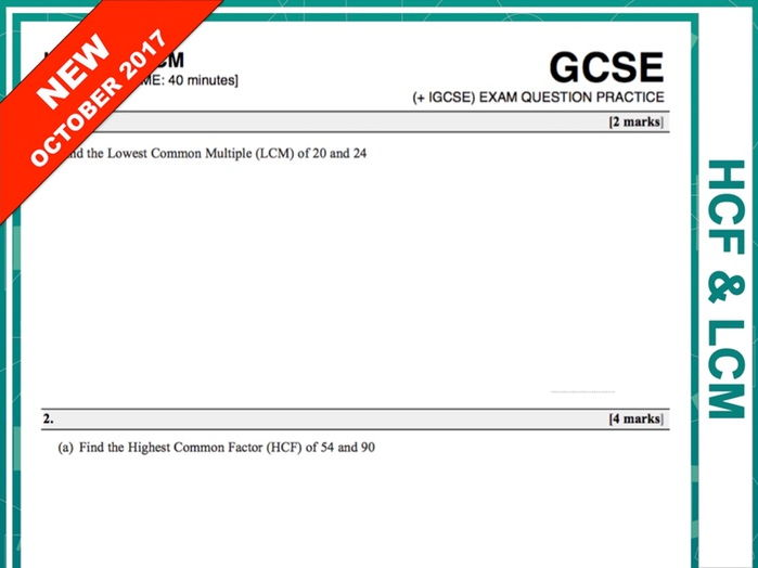 GCSE 9-1 Exam Question Practice (HCF and LCM)