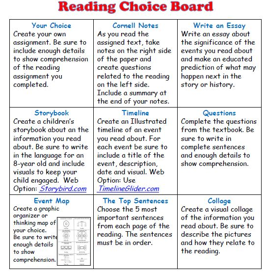 Choice Board for any READING assignment