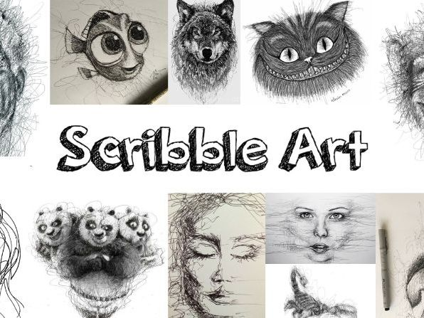 Scribble art including gesture drawing