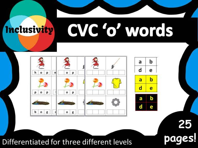 CVC 'o' words spelling, matching letters and picture cards