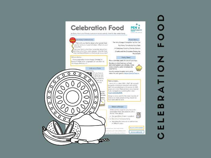 Celebration Food. An EYFS/KS1/KS2 Family Home Learning Sheet.