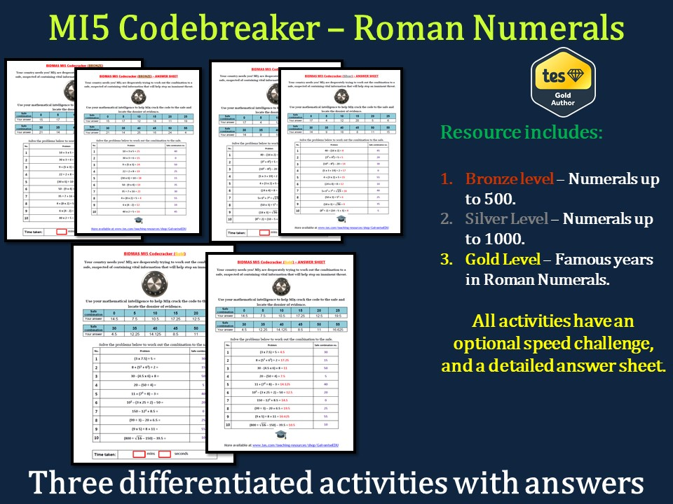 Roman Numerals MI5 Codebreaker (Differentiated with answers)