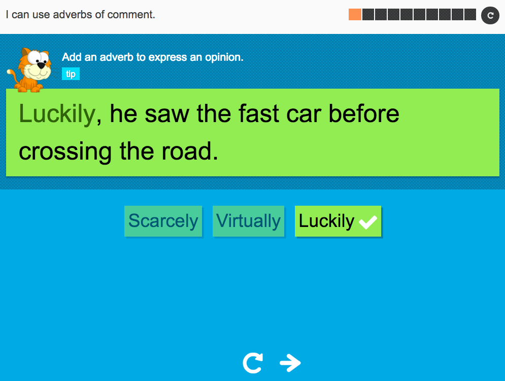 I can use adverbs of comment - Interactive Activity - Year 5 Spag