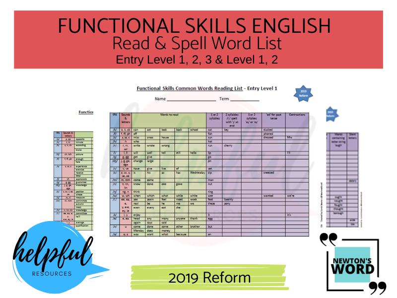 Functional Skills English Spelling List E1, E2, E3, L1, L2