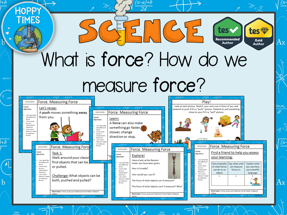 Science: Force. Measuring Force Lesson + worksheets (push and pull)