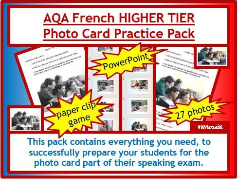AQA French GCSE photo card HIGHER pack