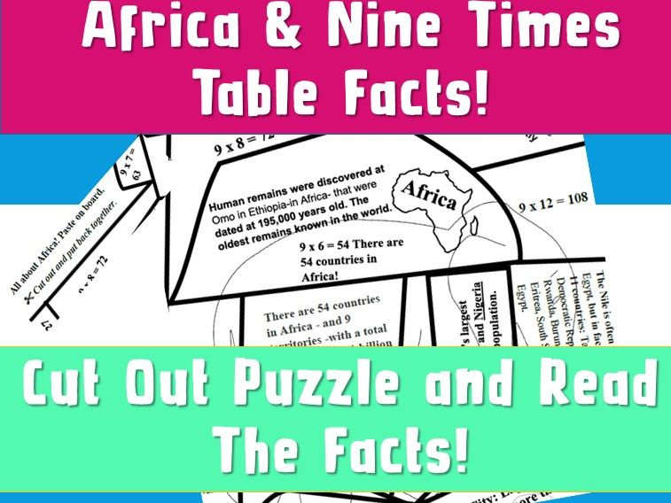 FREE Puzzle Africa with 9 Times Table  NinaLaZina