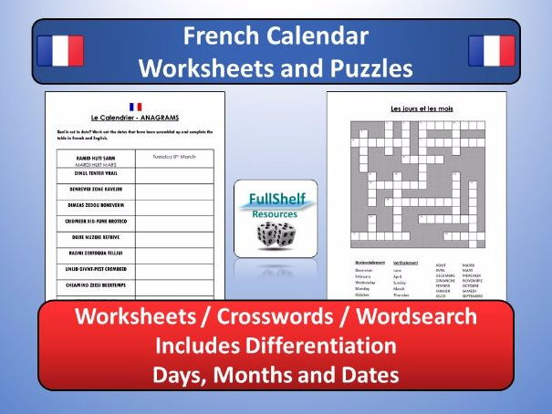 french calendar puzzles worksheets days months dates by fullshelf teaching resources tes. Black Bedroom Furniture Sets. Home Design Ideas