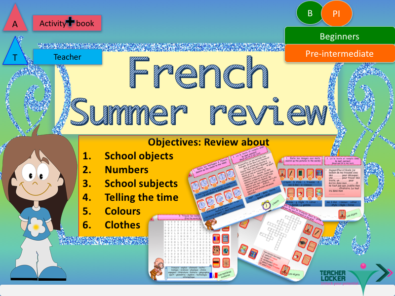 French summer revisions - homework for beginners full lesson Part 1
