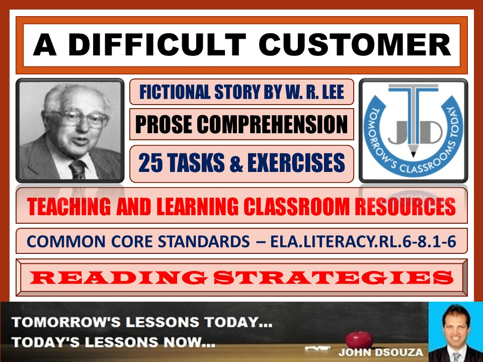 A DIFFICULT CUSTOMER - STORY COMPREHENSION - TASKS AND EXERCISES