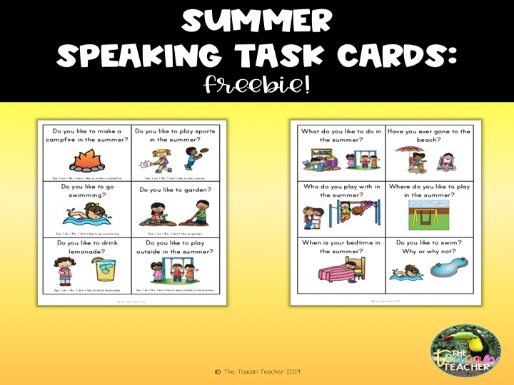 FREE speaking task cards - summer