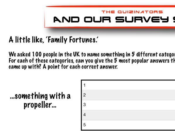 Family Fortunes Quiz Pack - Form Time - Our Survey Said