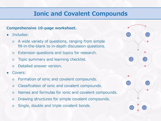 Covalent compounds worksheet chemistry 332