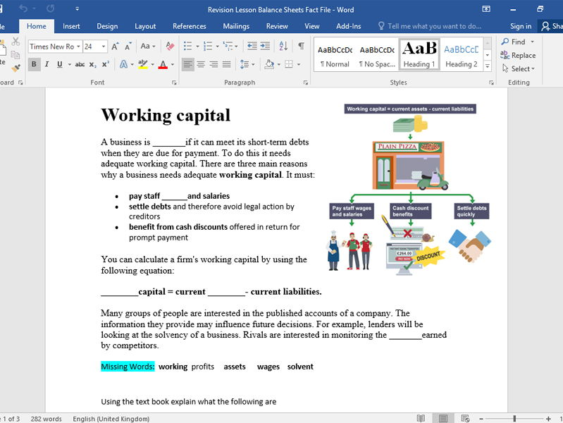 Balance Sheet Starter, Activity And Test Yourself Exam Questions for Level 2 GCSE and BTEC Finance