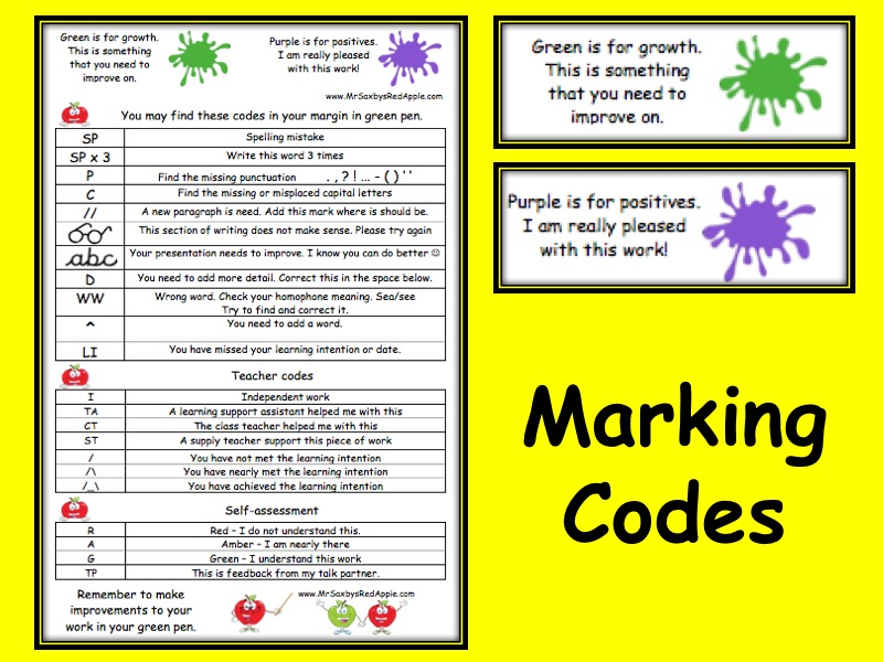 Marking Codes KS2 English