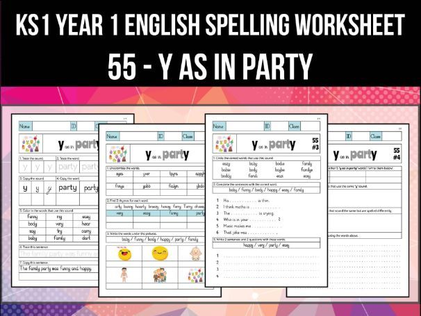 Spelling & Phonics Worksheet - i sound spelled Y