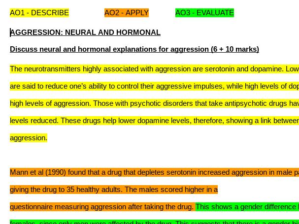 PSYCHOLOGY: IDENTIFY AO1/2/3 TASK