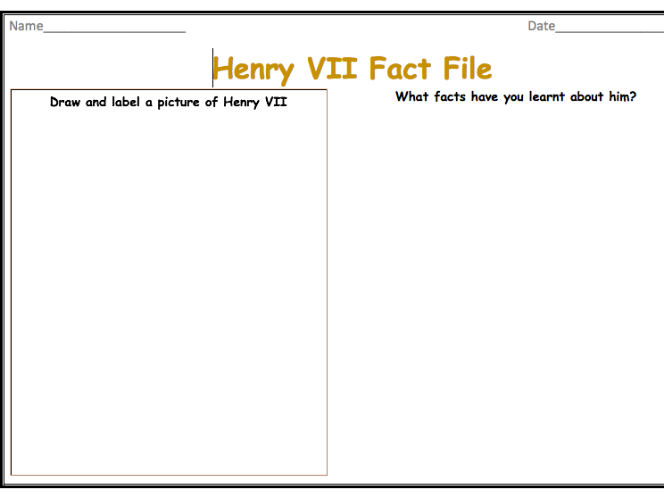 Henry VII Fact File Templates