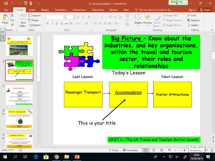 Travel and Tourism BTEC first level 2 - UNIT 1 - lesson 13 - Accommodation