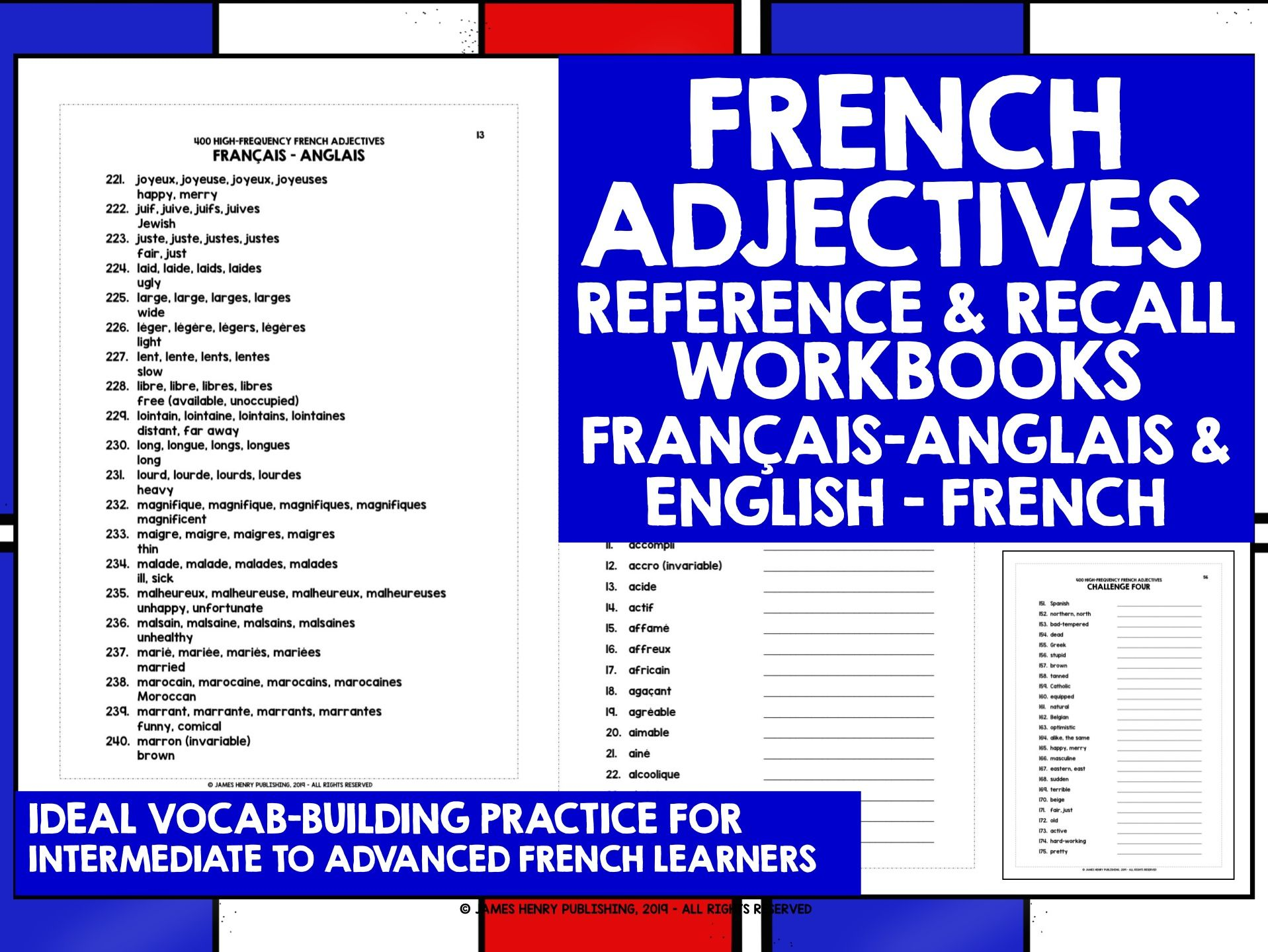FRENCH ADJECTIVES REFERENCE & RECALL #1