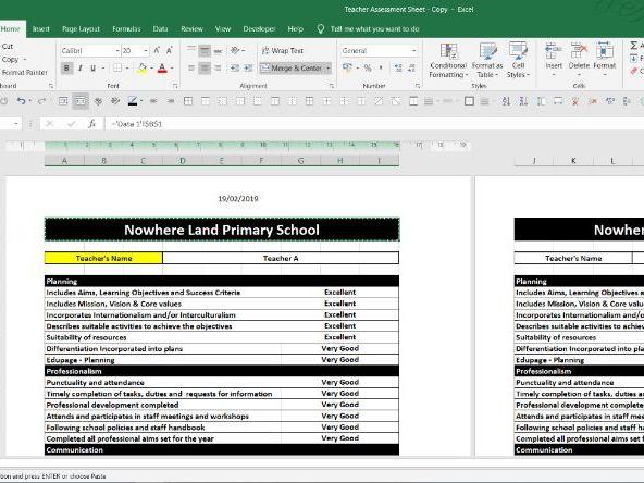 Primary Teacher Assessment Report