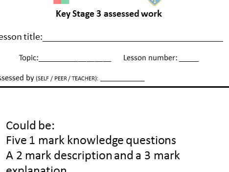 KS3 and KS4 generic assessment template