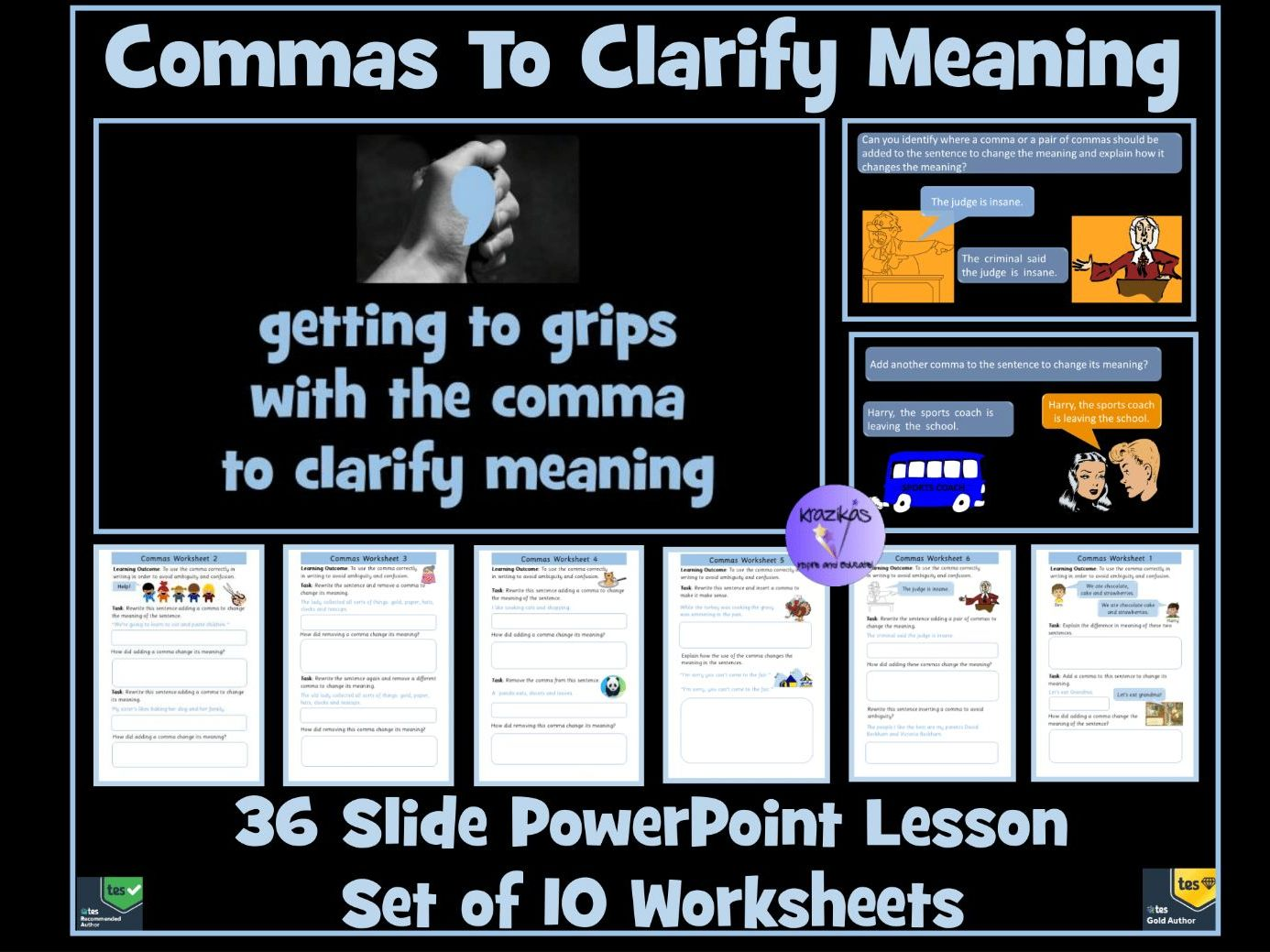 Commas To Clarify Meaning Bundle: PowerPoint Lesson and Worksheets