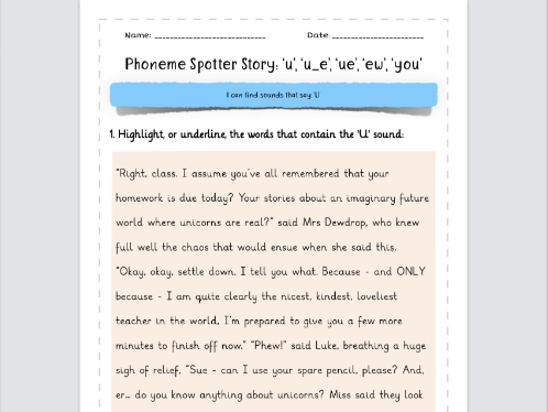 Phoneme Spotter Story 'U' Sounds: 'u', 'u_e', 'ue', 'ew', 'you'