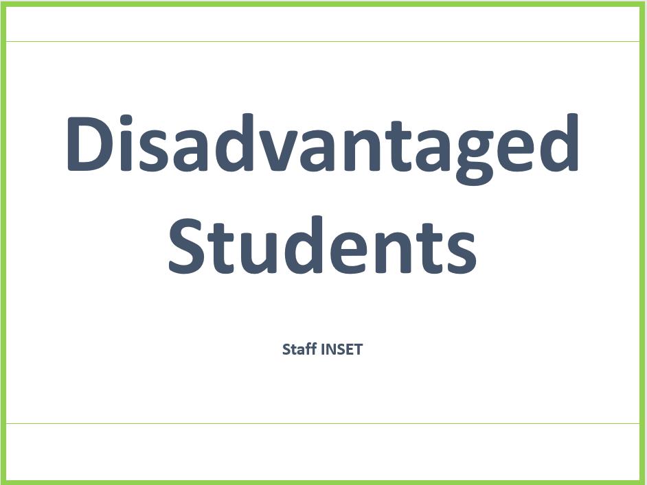 Disadvantaged Students Staff Training Presentation