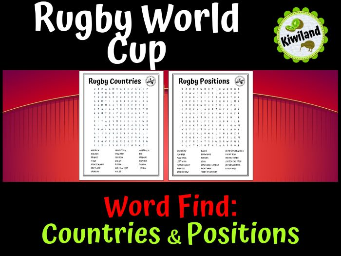 Rugby World Cup 2019 Wordsearch Countries and Rugby Positions
