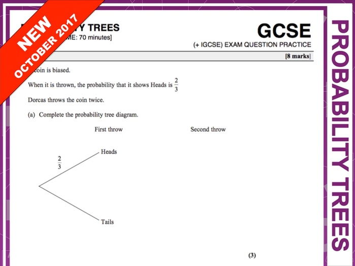 GCSE 9-1 Exam Question Practice (Probability Trees)