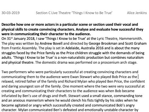 GCSE Exemplar Level 9 AQA Drama Essay Live Theatre - Two Convincing Characters