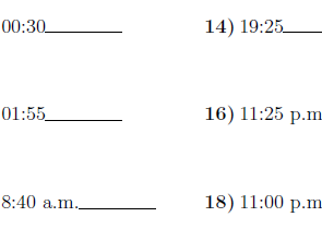 Converting between the 24 hour and 12 hour clock worksheet (with solutions)