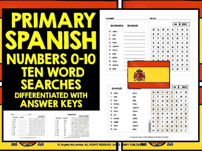 PRIMARY SPANISH NUMBERS 0-10 WORD SEARCHES