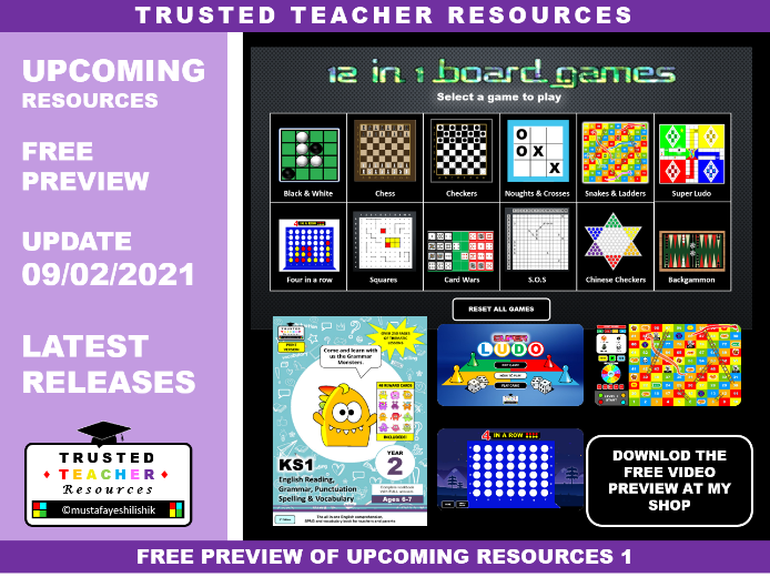 TRUSTED TEACHER RESOURCES UPDATE 09.02.2021