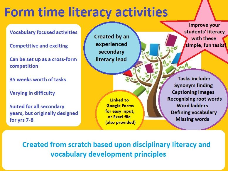 35 Literacy Activities for form time, lessons or competition - one per academic week!