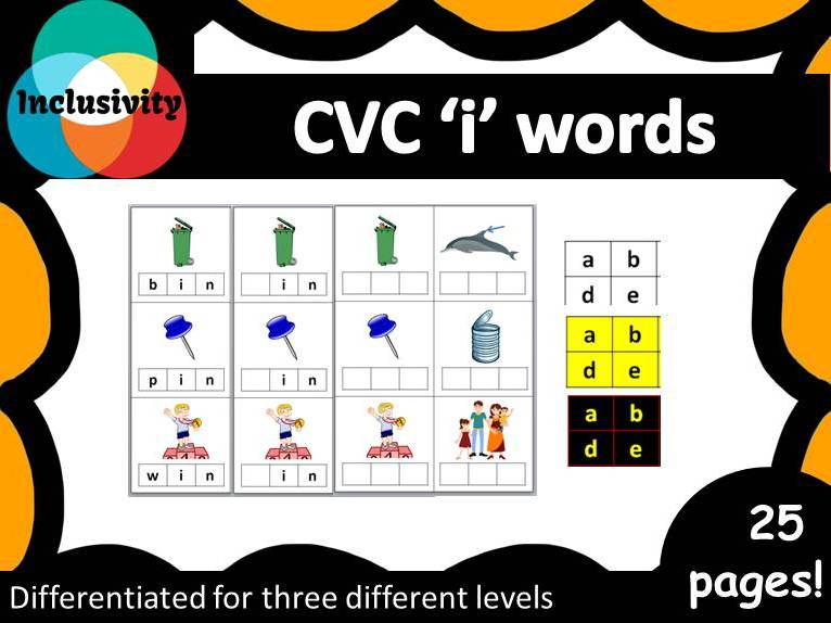 CVC 'i' words spelling, matching letters and picture cards