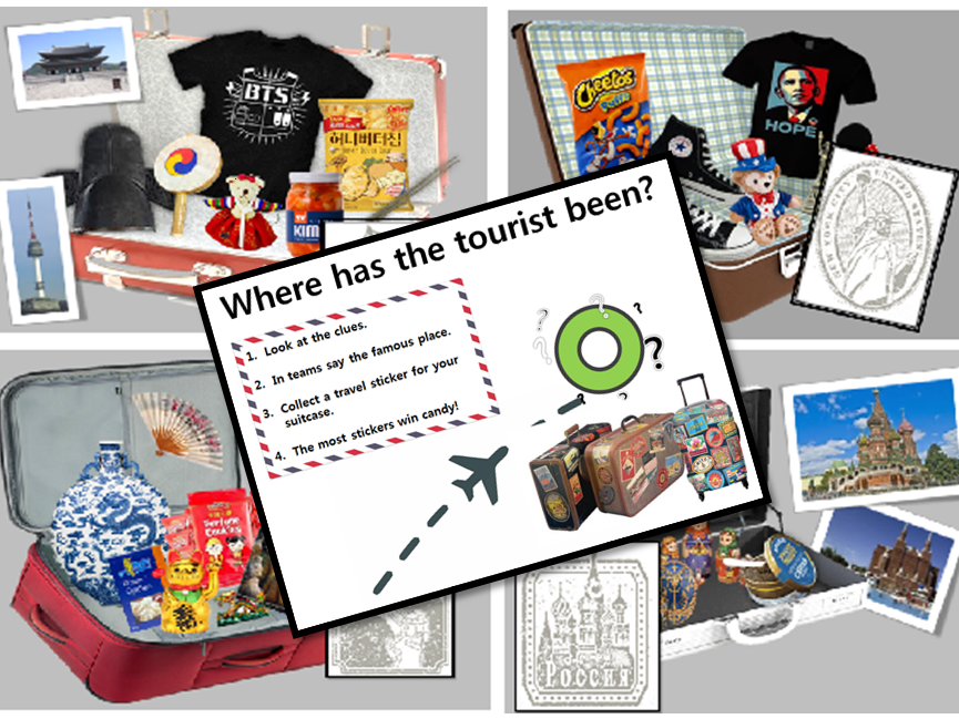 Suitcase guessing game EAL TEFL KS2 Travel Geography