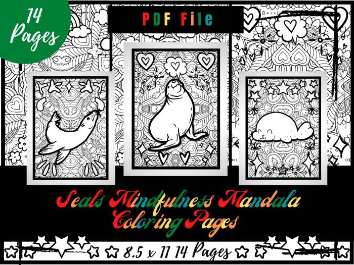 Seals Mindfulness Mandala Coloring Pages, Animals Coloring Printable Sheets PDF
