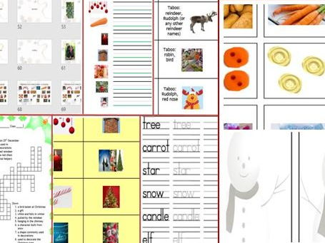 Colourful Christmas Bundle: Thinking skills, Taboo, puzzles, games as well as reading / writing activities
