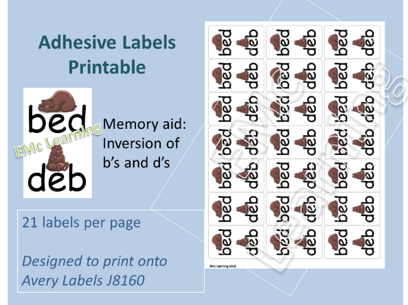 Bed Deb Marking Label Memory Aid  Letter Reversal Label Printable  Special Needs Avery J8160