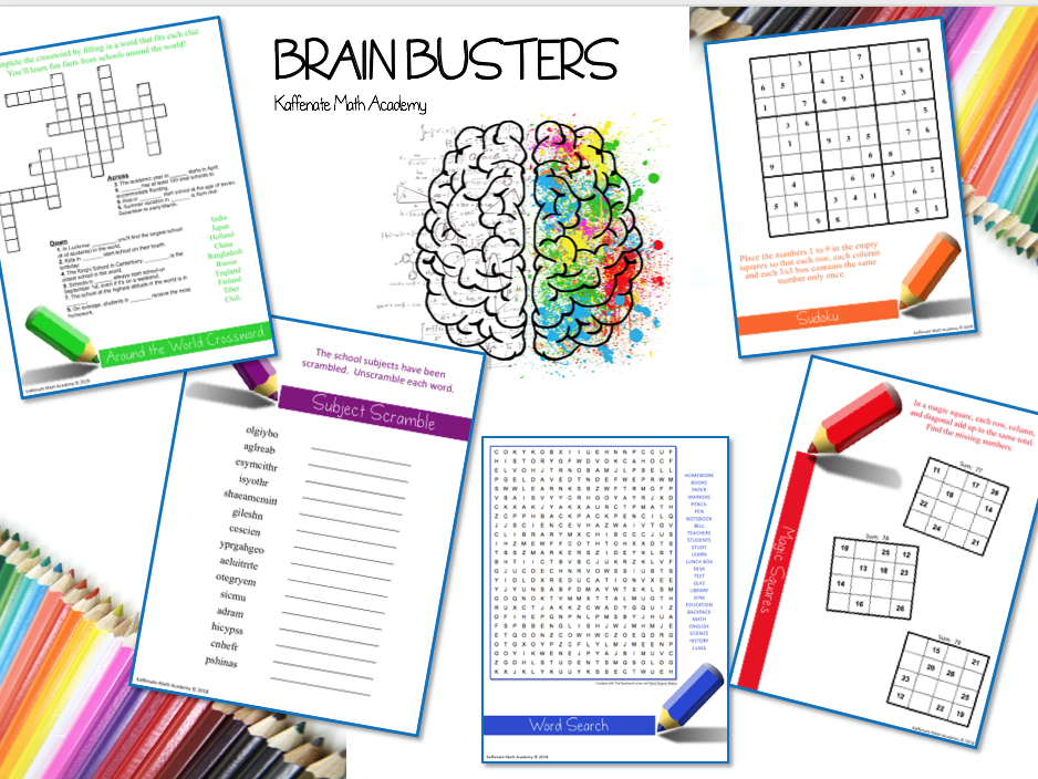 Kaffenate Math BRAIN BUSTER--Back to School Edition
