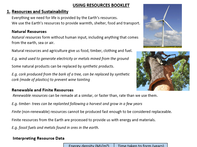 AQA GCSE Using Resources Triple and Combined Science booklets