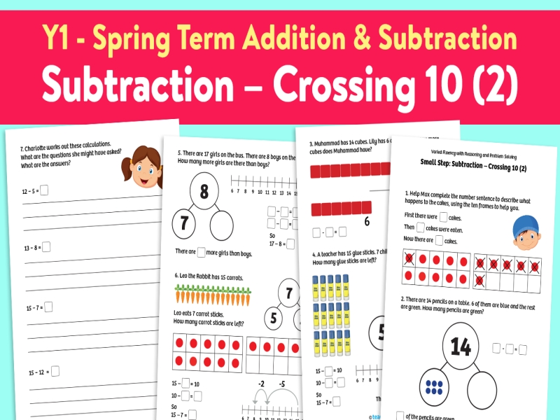 Subtraction Crossing 10 (2) activities: Spring Term, Block 1 – Addition and Subtraction – Weeks 1-4