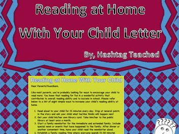 Reading at home with your child letter
